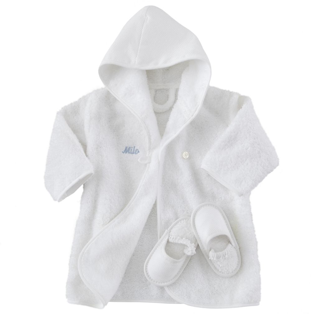 Personalized Bathrobe and Slippers (Blue)