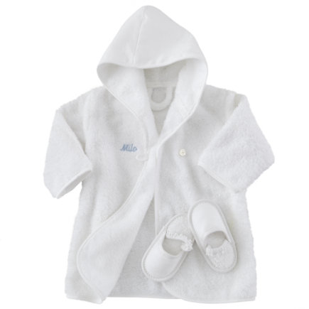 Blue Personalized Bathrobe and Slippers