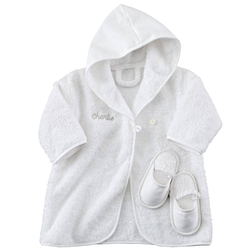 Personalized Bathrobe and Slippers (Khaki)