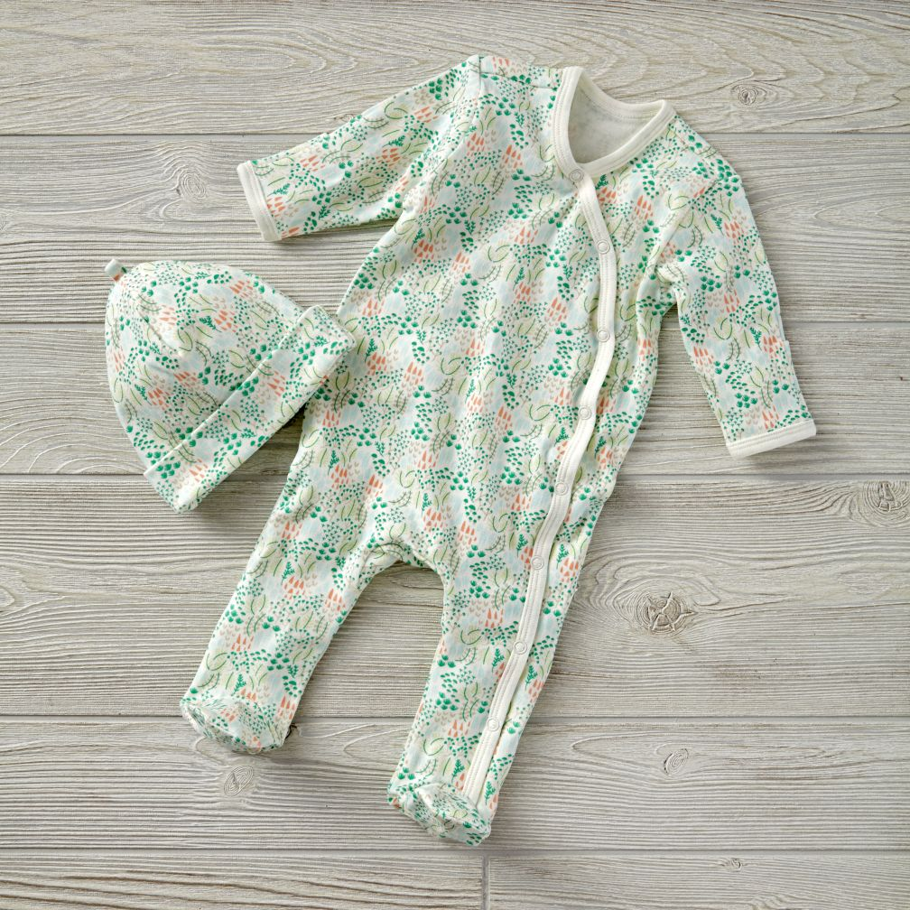 3-6 Months Organic Garden Patch Green Hat & Footie Set