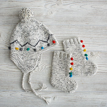 Rainbow Pompom Hat and Booties