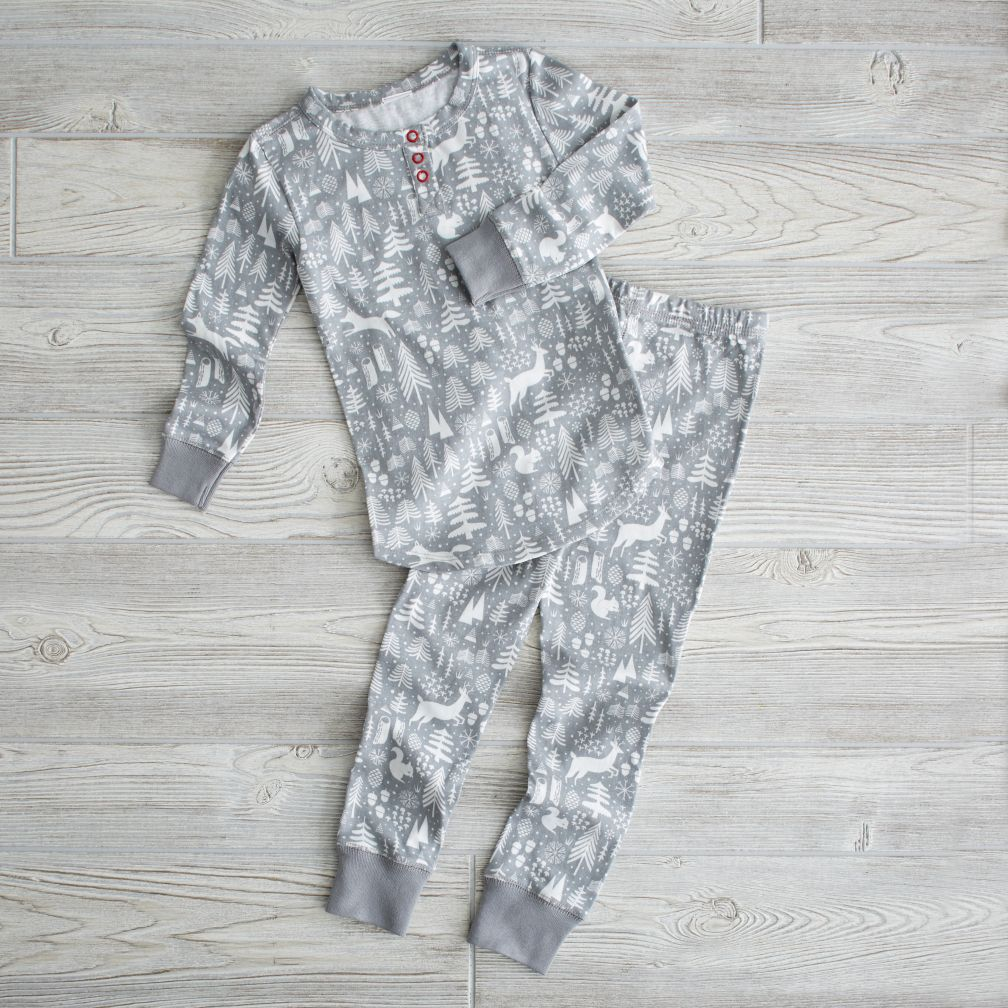 2T Grey Wintry Night Pajamas