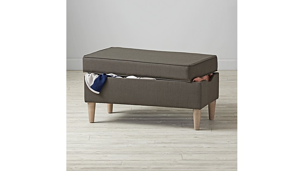 Upholstered Storage Bench (Leisure Slate)