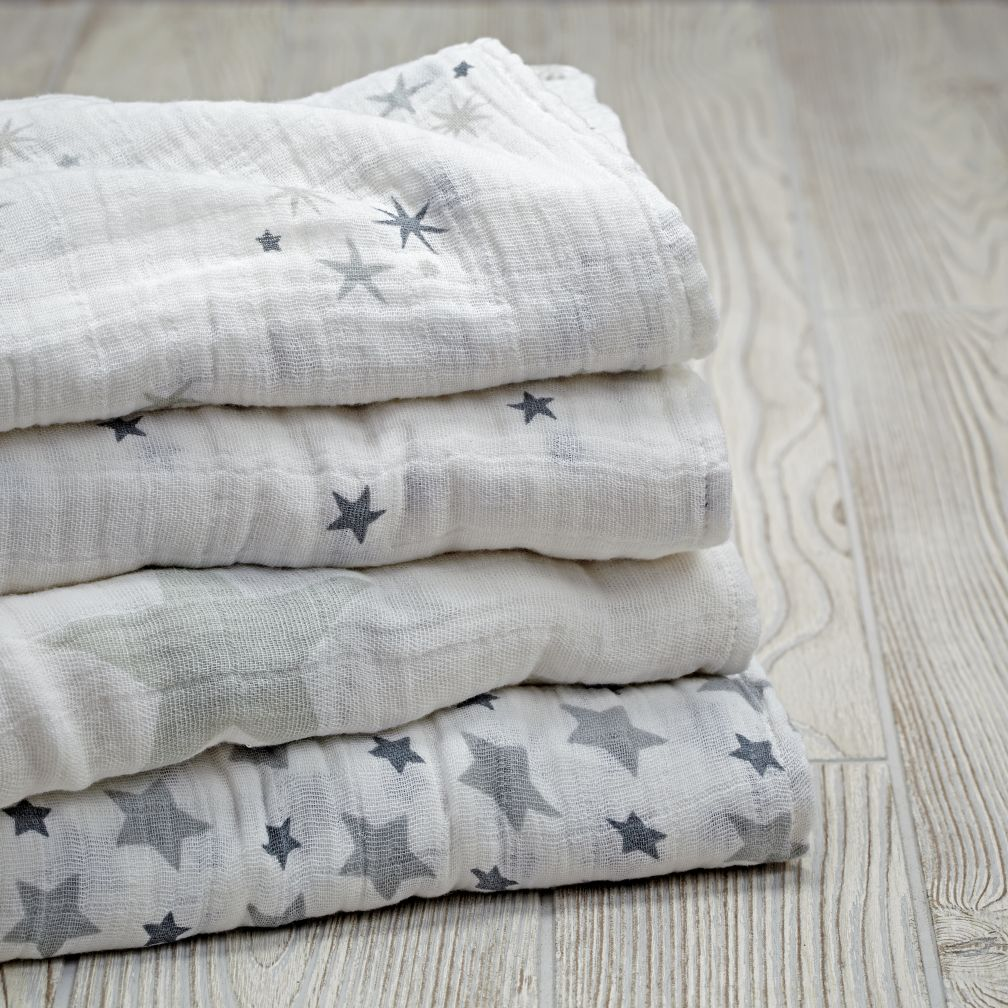Star Swaddle Blankets (Grey)