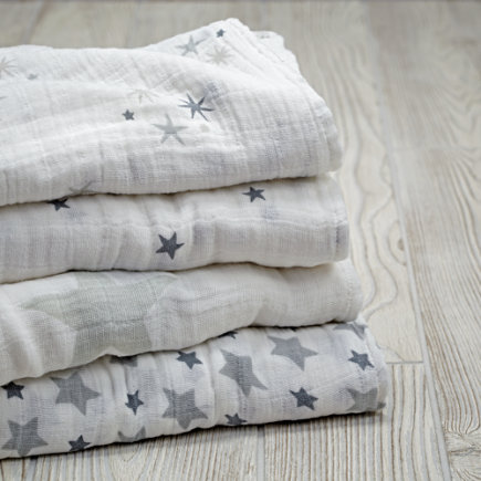 Grey Star Swaddle Blankets Set of 4