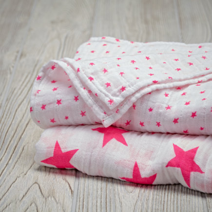Pink Star Swaddle Blankets Set of 2
