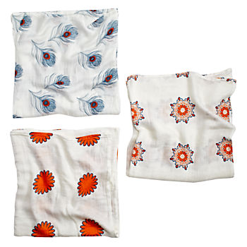 Orange Print Silky Soft Swaddle Blankets