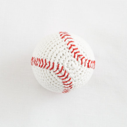 Baseball Knit Baby Rattle