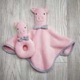 Plush Pair Blanket & Rattle Set (Pig)