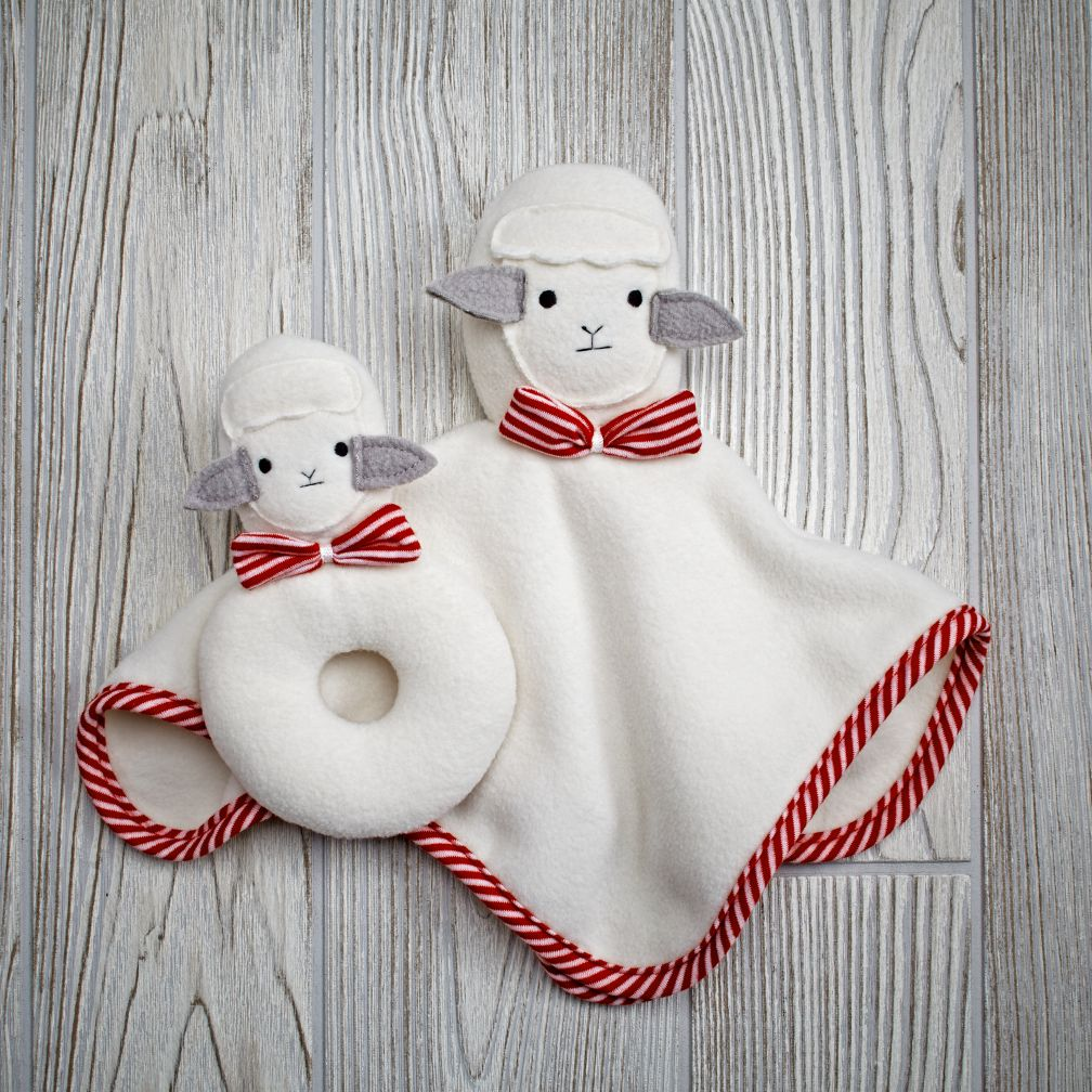 Plush Pair Blanket & Rattle Set (Sheep)