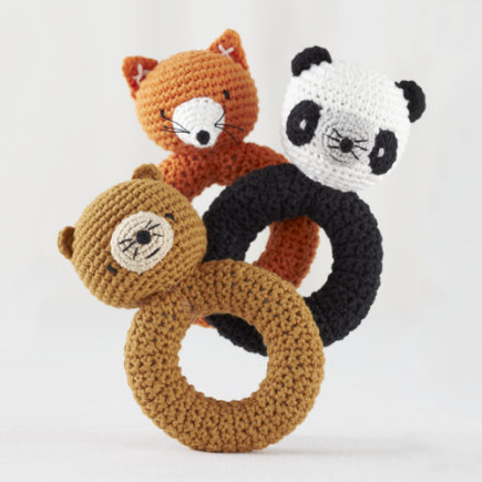 Baby Gear: Plush Animal Rattles - Bear Animal Knit Rattle