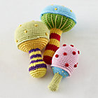 Mushroom Knit Rattles Set of 3A Savings of $9.85