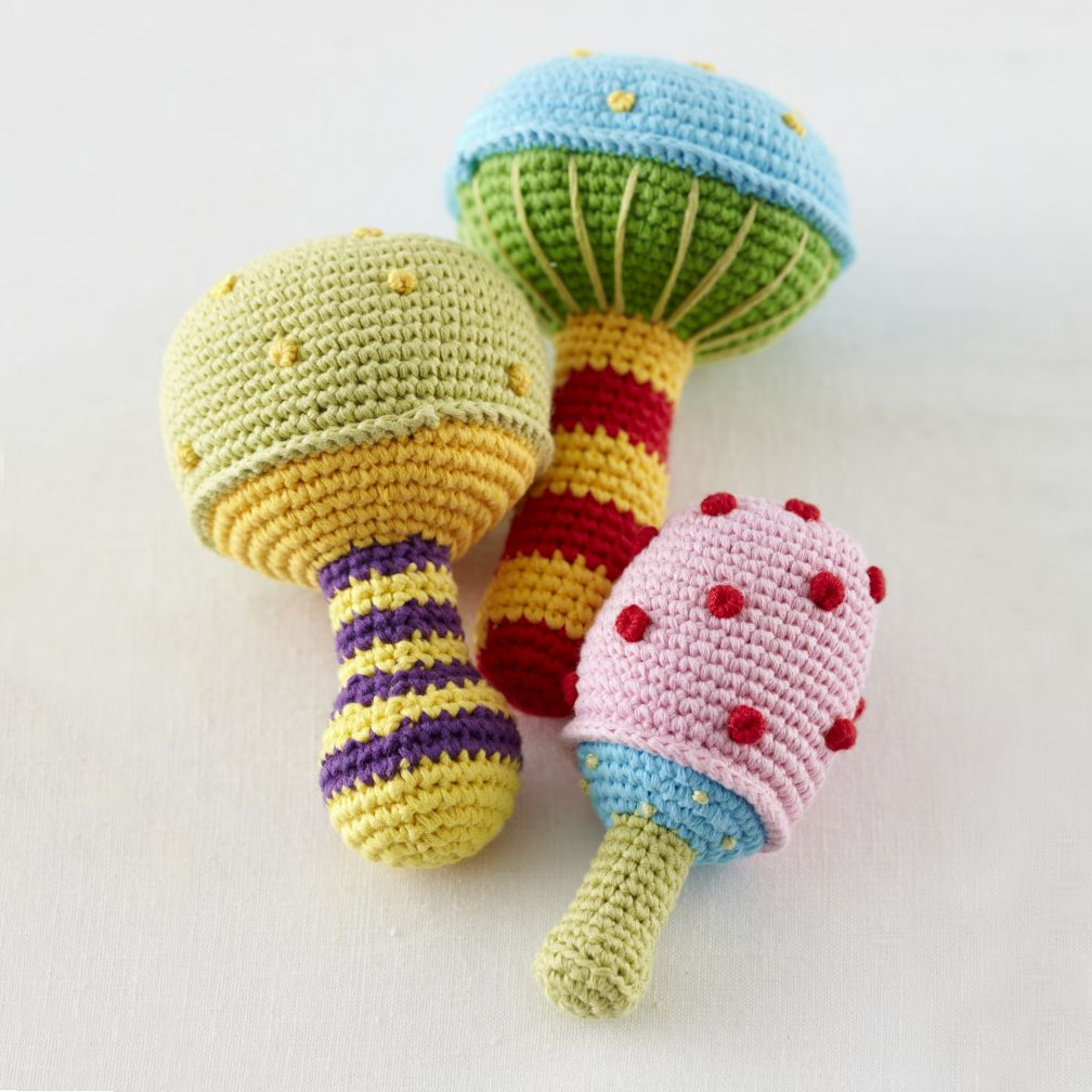 Mushroom Knit Rattles (Set of 3)