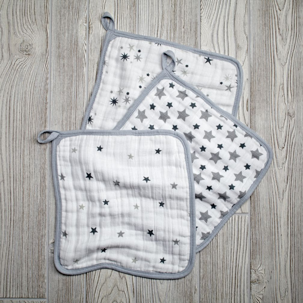 Star Wash Up Washcloths (Grey)