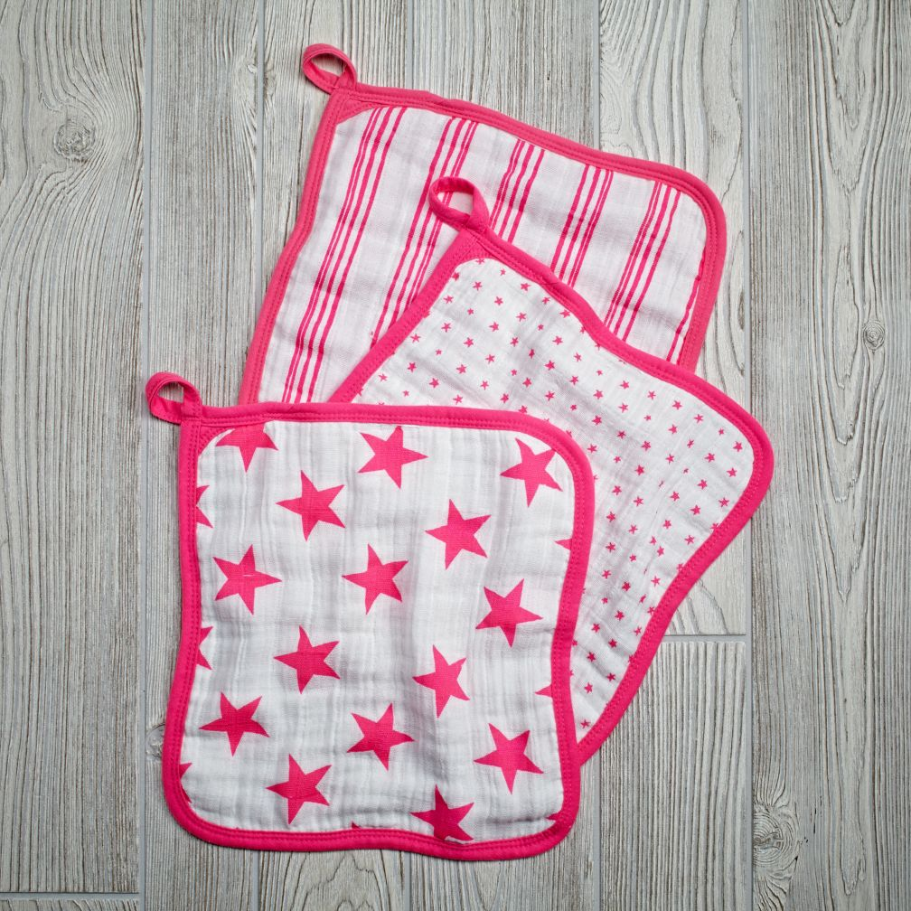 Star Wash Up Washcloths (Pink)