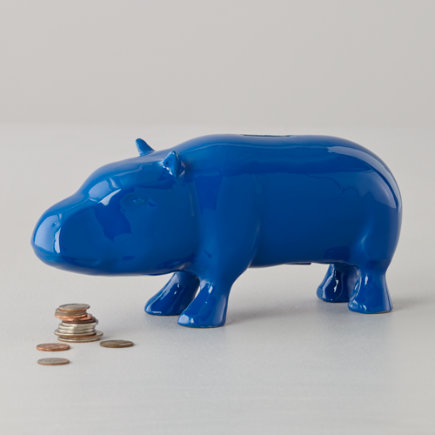 Hippo Piggy Bank (Blue) - Blue Feed the Hippo Bank