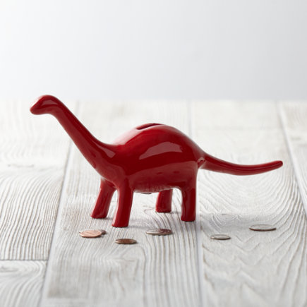 Red Dinosaur Piggy Bank - Red Feed the Dino Bank