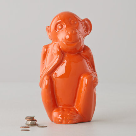 Monkey Piggy Bank (Orange) - Orange Feed the Monkey Bank
