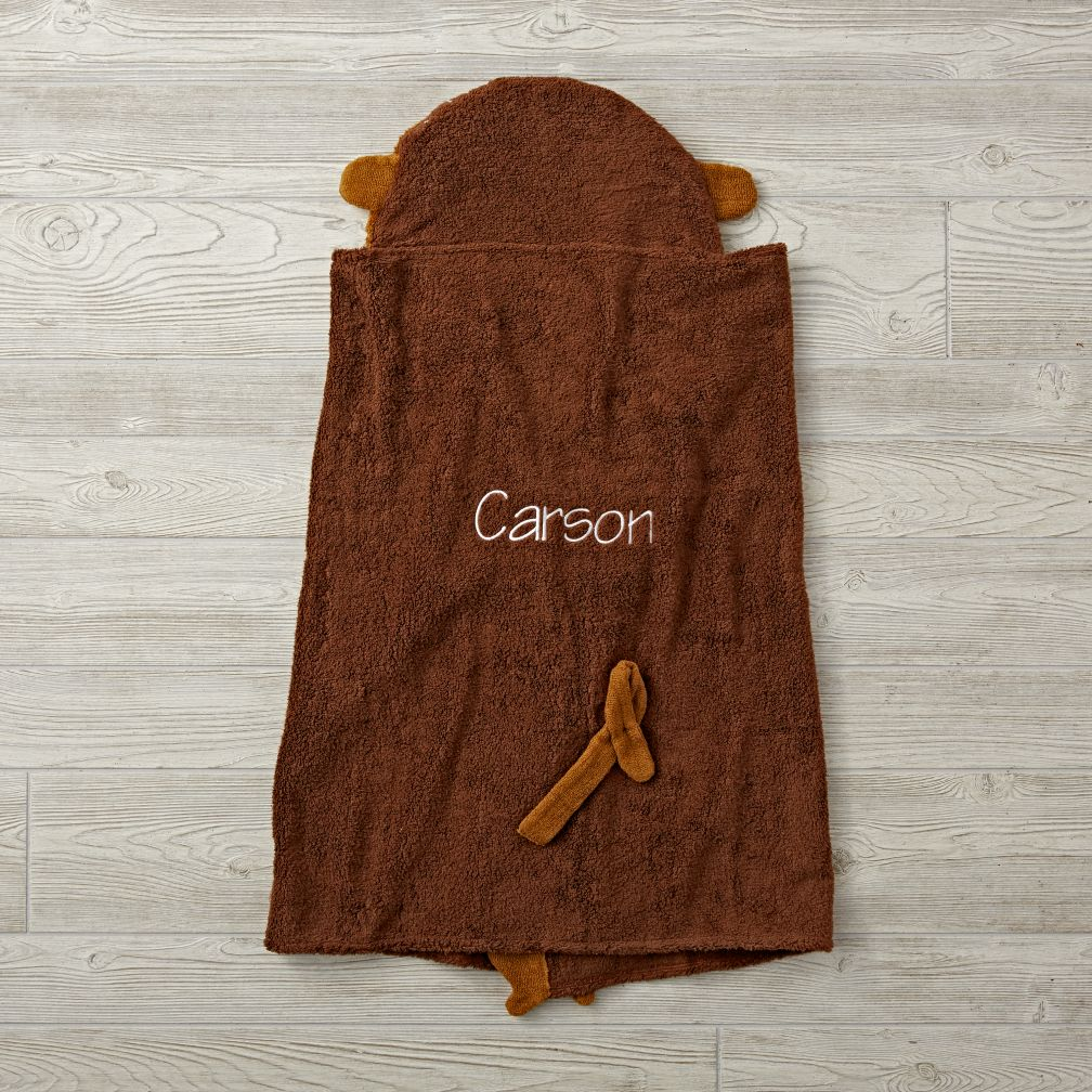 Personalized Petting Zoo Monkey Hooded Towel