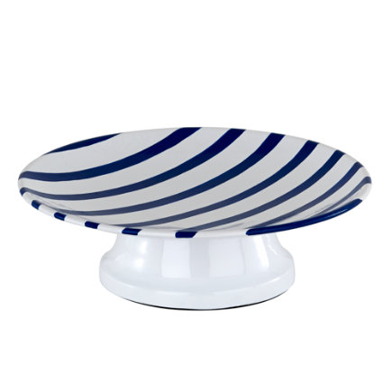 Nautical Blue and White Stripe Bath Accessories Collection - Maritime Blue Stripe Soap Dish