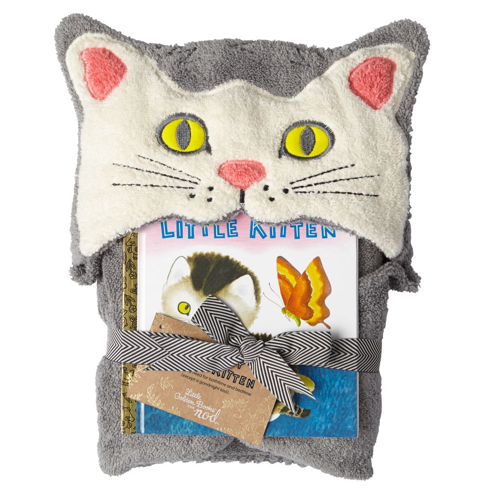 Shy Little Kitten Hooded Towel Bath Set