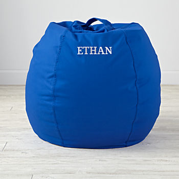 "Personalized 30"" Cool Beans! Blue Bean Bag Chair"