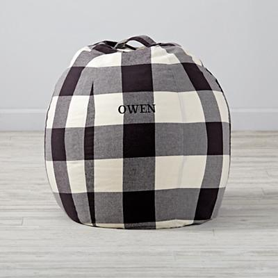 "30"" Buffalo Check Personalized Bean Bag Chair Cover"