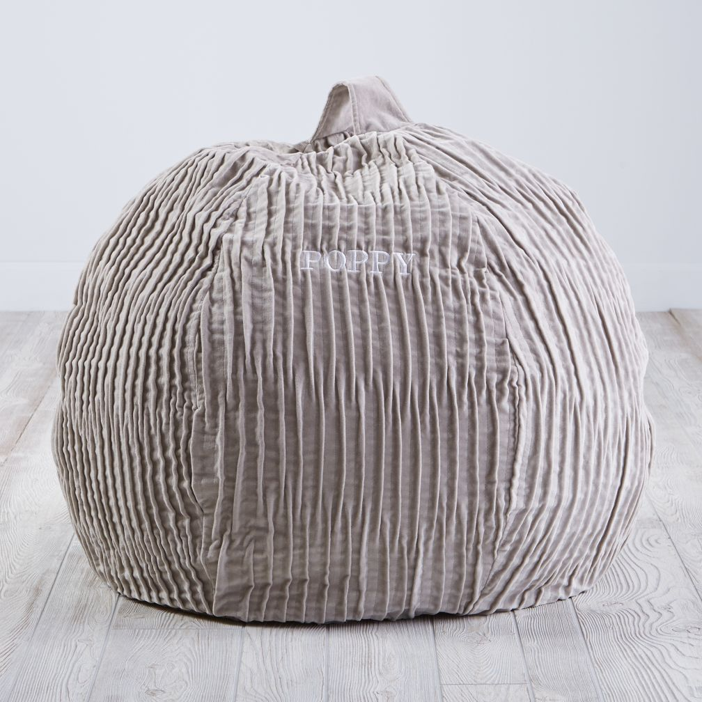 "30"" Velvet Bean Bag Chair (Grey)"