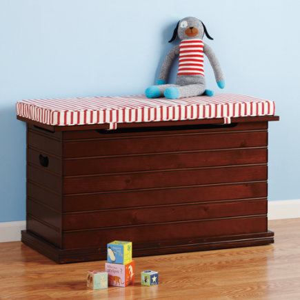 Kids Benches: Kids Chocolate Wooden Beadboard Toy Chest - Chocolate Beadboard Toy Chest