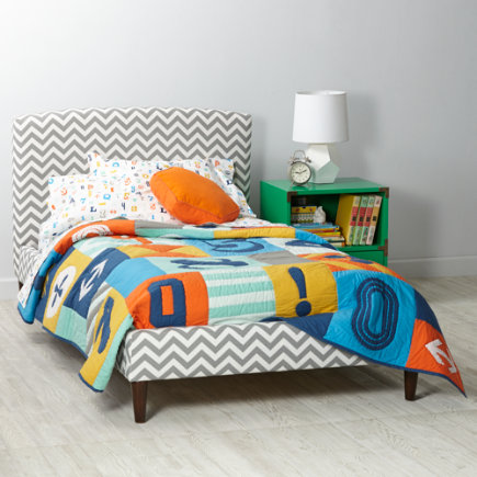 Zig Zag Ash Twin Upholstered Bed