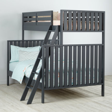 Twin over Full Cargo Bunk Bed (Grey) - Charcoal Cargo Twin Over Full Bunk Bed