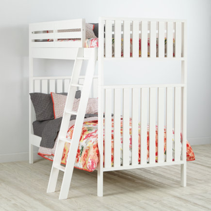 Twin over Twin Cargo Bunk Bed (White) - White Cargo Bunk Bed