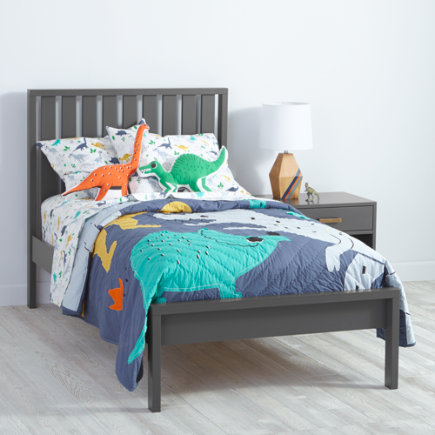 Twin Charcoal Cargo Low Footboard Bed