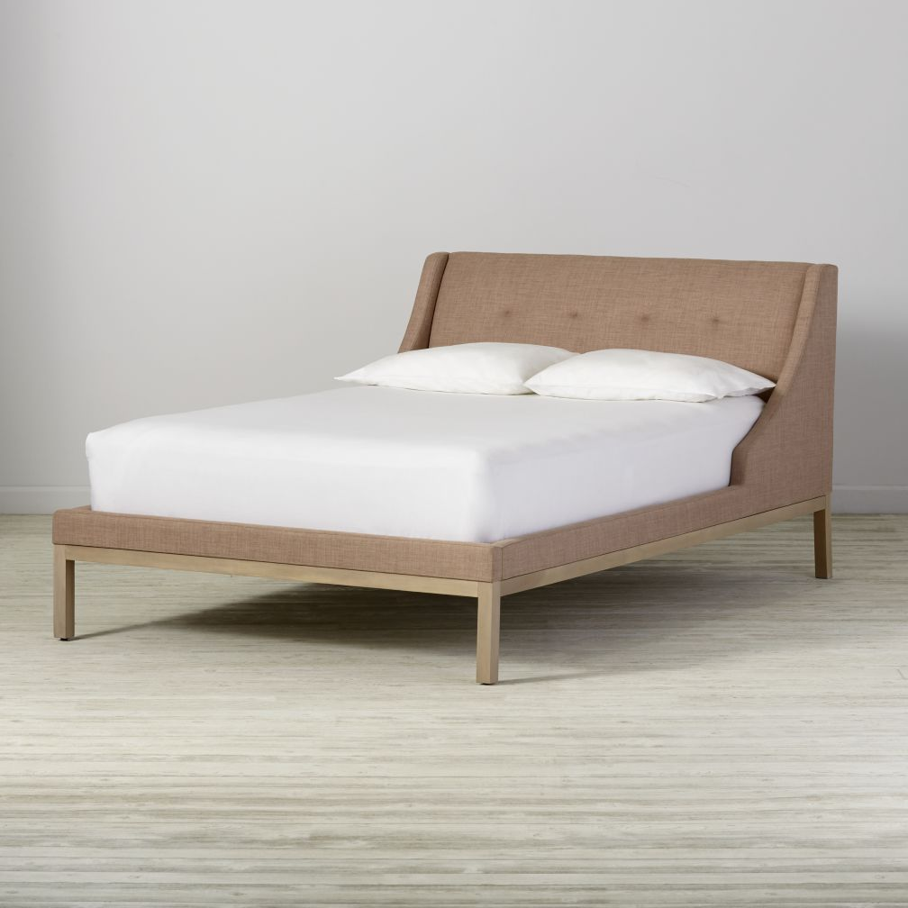 Full Gallery Blush Upholstered Wing Bed
