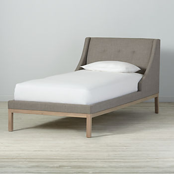 Twin Gallery Grey Upholstered Wing Bed