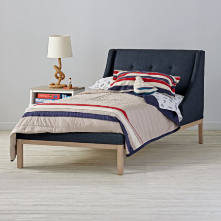 Twin Gallery Navy Upholstered Wing Bed