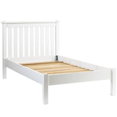 Twin Simple White Bed (Headboard w/Wood Frame)