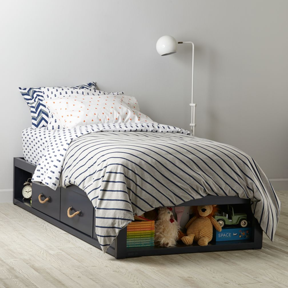 Topside Storage Kids Bed Navy The Land Of Nod