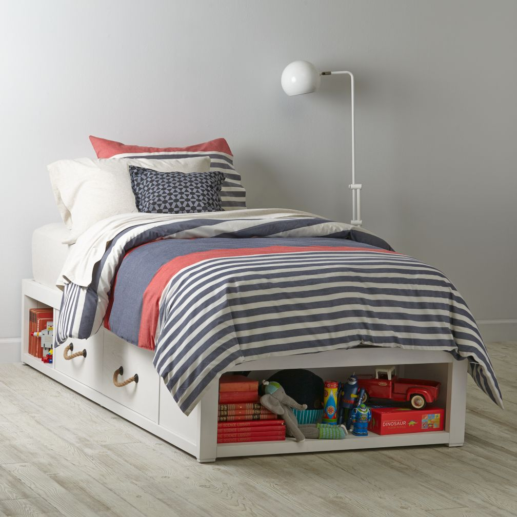 Topside White Glaze Storage Bed
