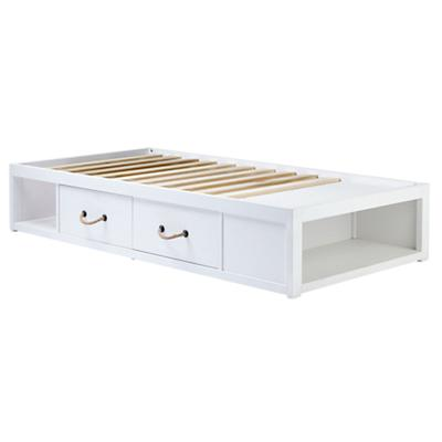 Twin Topside White Glaze Storage Bed