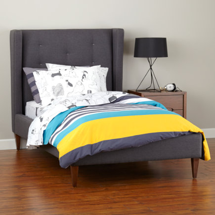 - Twin Grey and White Upholstered Marquee Bed