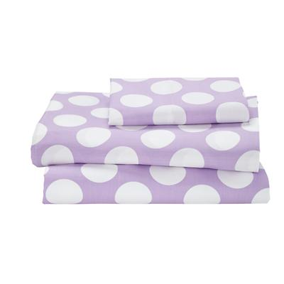 Twin New School Sheet Set (Purple w/White Dot)