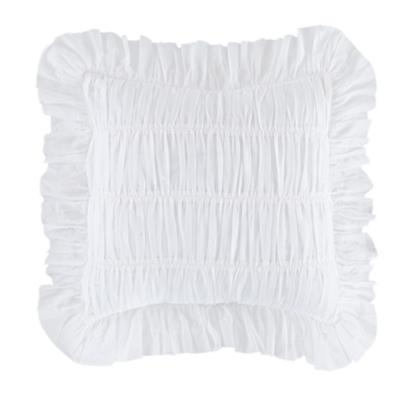 White Antique Chic Rouched Throw Pillow Cover