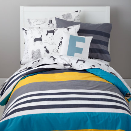 Kids Shams: Grey Striped Pillow Sham - Wide Lined Grey Stripe Sham