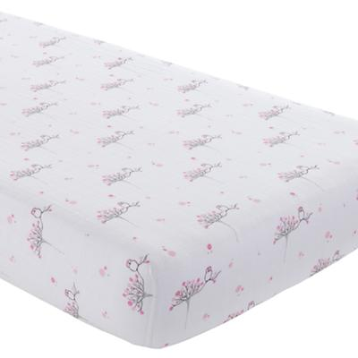 Pink Birds Crib Fitted Sheet
