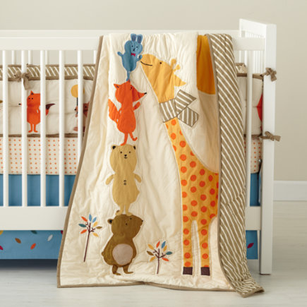 Crib Skirt: Forest Animal Crib Skirt - Bright Eyed Blue Leaf Crib Skirt