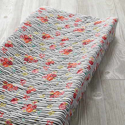 Floral Pop Stripe Changing Pad Cover - Floral Pop Stripe Changing Pad Cover