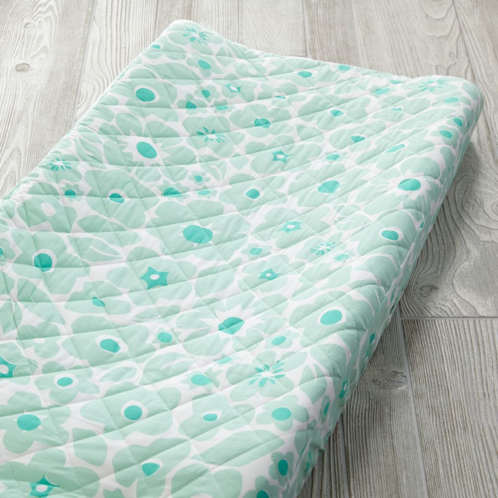 Go Lightly Changing Pad Cover (Mint Floral)