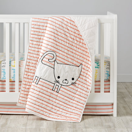 Early Edition Crib Skirt (Pink Stripes) - Early Edition Pink Stripe Crib Skirt