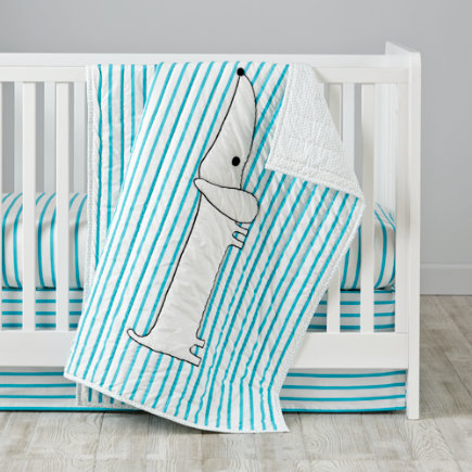 Early Edition Crib Skirt (Blue Stripes) - Early Edition Blue Stripe Crib Skirt
